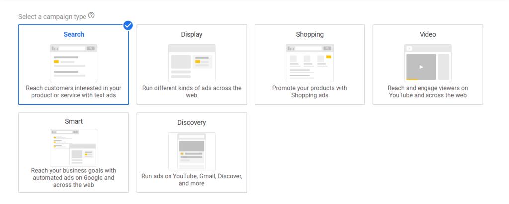 Selezione campagna dynamic search ads Google