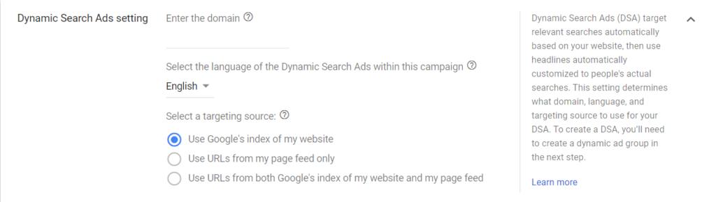 impostazione annunci dinamici google