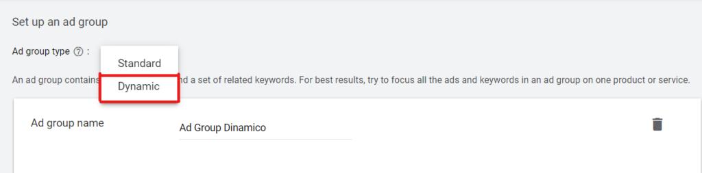 schermata gruppo annunci dinamici google