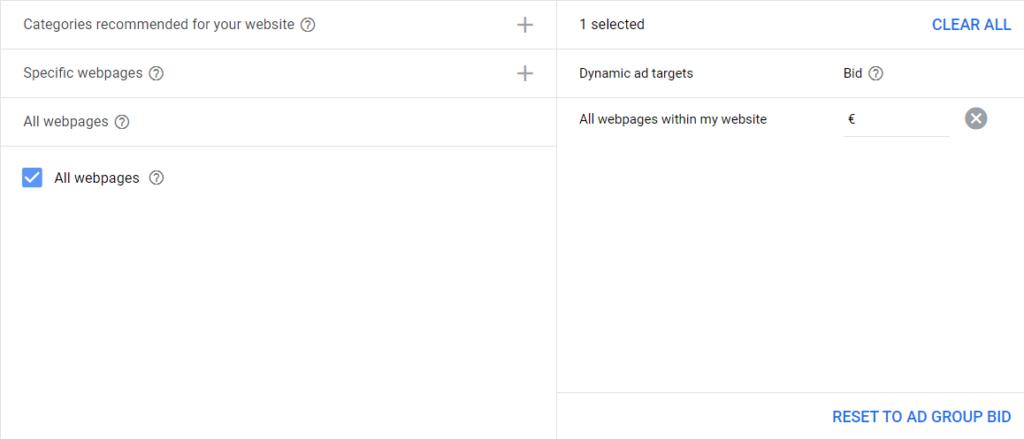 targhettizzare tutte le pagine del sito google ads