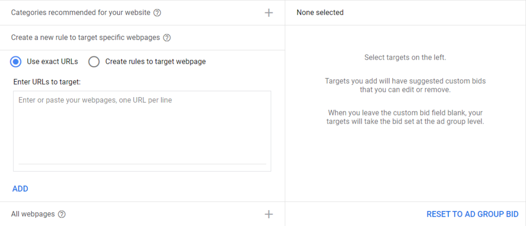 targeting per url dynamic search ads