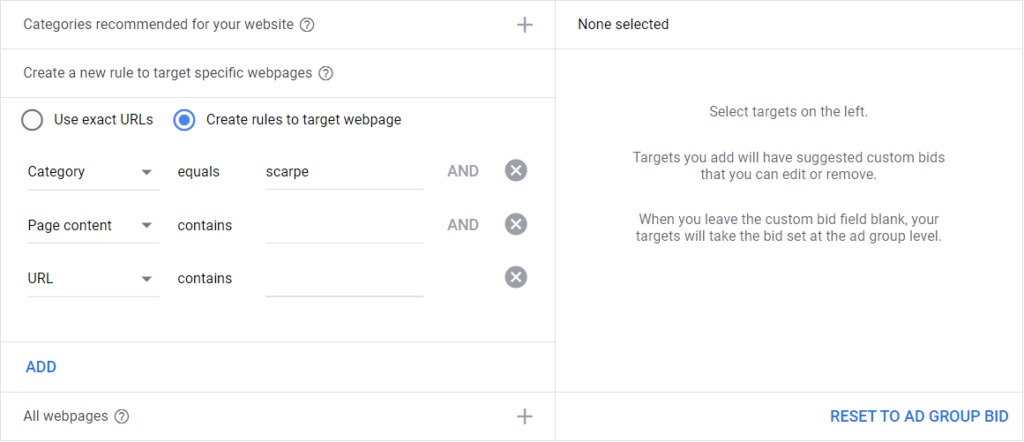 targeting per pagina dynamic search ads