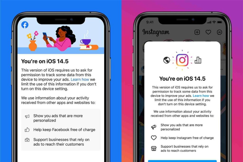 L'app di Facebook chiede all'utente di attivare i tracciamenti per mantenere il servizio gratuito