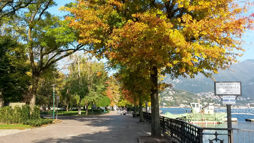 Lake promenade of Como in autumn