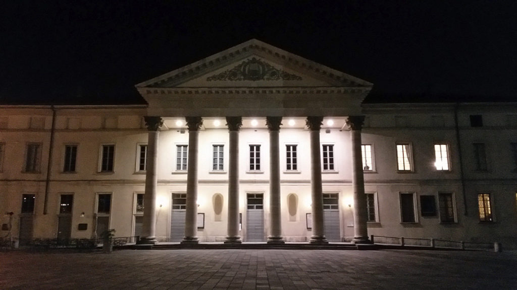 Teatro Sociale at night