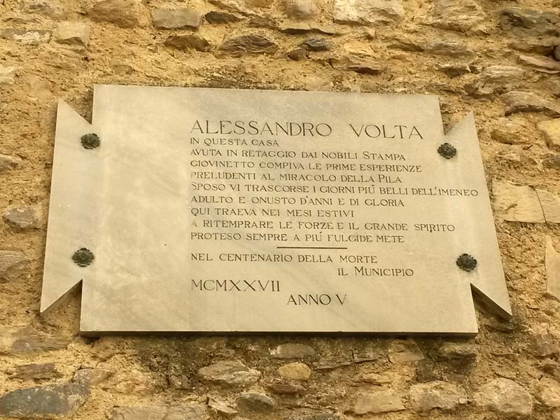 Plaque of Alessandro Volta's house in Gravedona