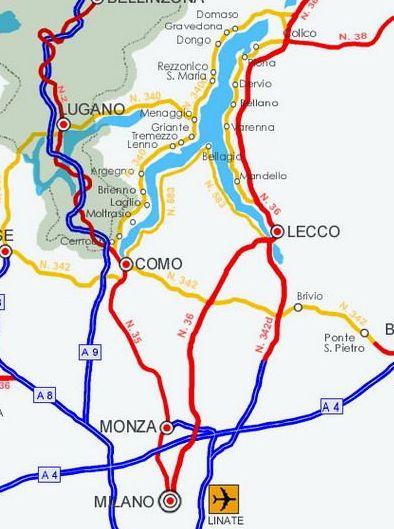 Rote Linien: Zugstrecken rund um den Comer See (Bild: touristinparadise.blogspot.com)