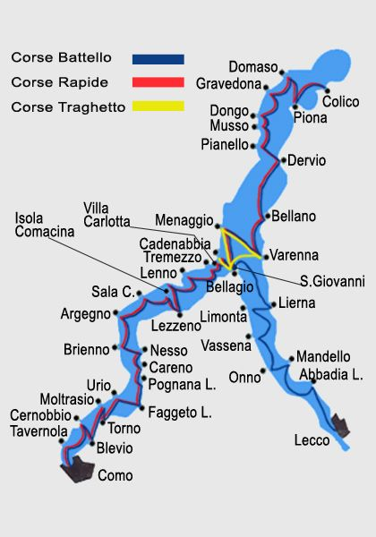 Public boat routes on Lake Como