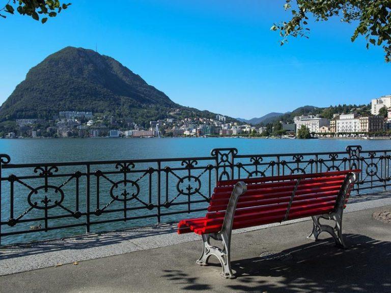 Lugano lake promenade