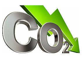 CO2-Zeichen mit nach unten gerichtetem Pfeil