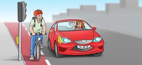 Radfahrer und Autofahrerin flirten