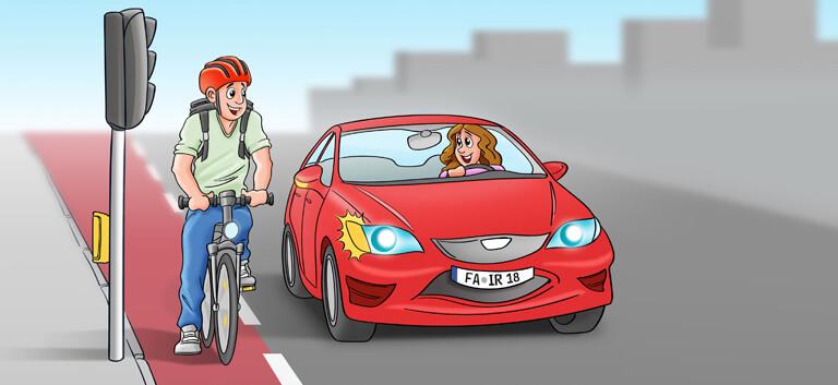 Radfahrer und Autofahrer an der Ampel