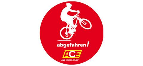 Logo abgefahren: grafische Darstellung Junge auf Fahrrad