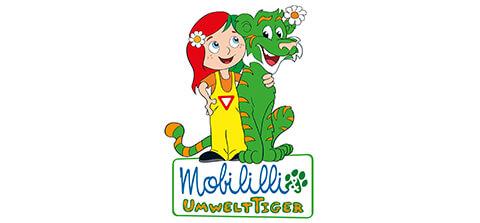 Logo Mobilili: grafische Darstellung Mädchen und Drachen