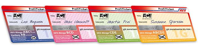 ProfiTicket-Karten in der Reihe