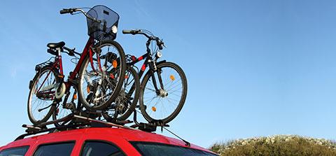 Fahrräder auf dem Dache eines Autos