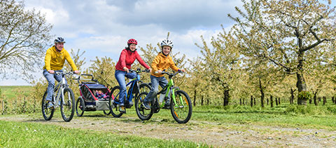 Familie fährt Fahrrad im Frühling