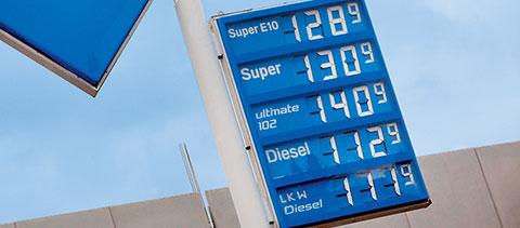 Spritpreise an einer Tankstelle