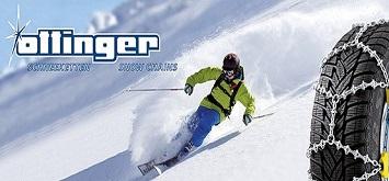 Ein Mann fährt mit seinen Ski den Abhang hinunter, daneben ist ein Reifen mit montierter Schneekette und das Logo der Firma Ottinger Schneeketten GmbH abgebildet