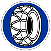 Schneekettensymbol auf einem Verkehrsschild abgebildet