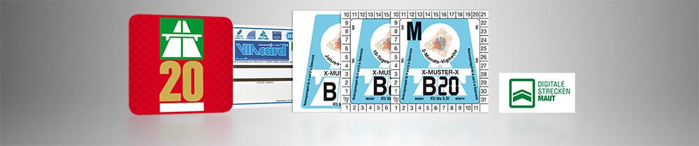 Vignette, digitale Streckenmaut und VIA Card auf einer Collage