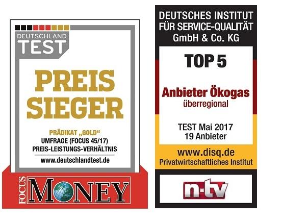 """Auszeichnungen """"Preissieger"""" und """"Top 5"""" für die Ökogas- und Ökostrom-Tarife von ENTEGA von Fokus Money und disq"""
