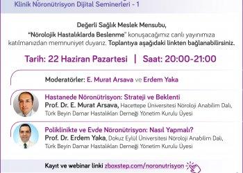 Türk Beyin Damar Hastalıkları Derneği Klinik Nöronütrisyon Dijital Seminerlerinin ilki 22 Haziran'da Yapılacaktır