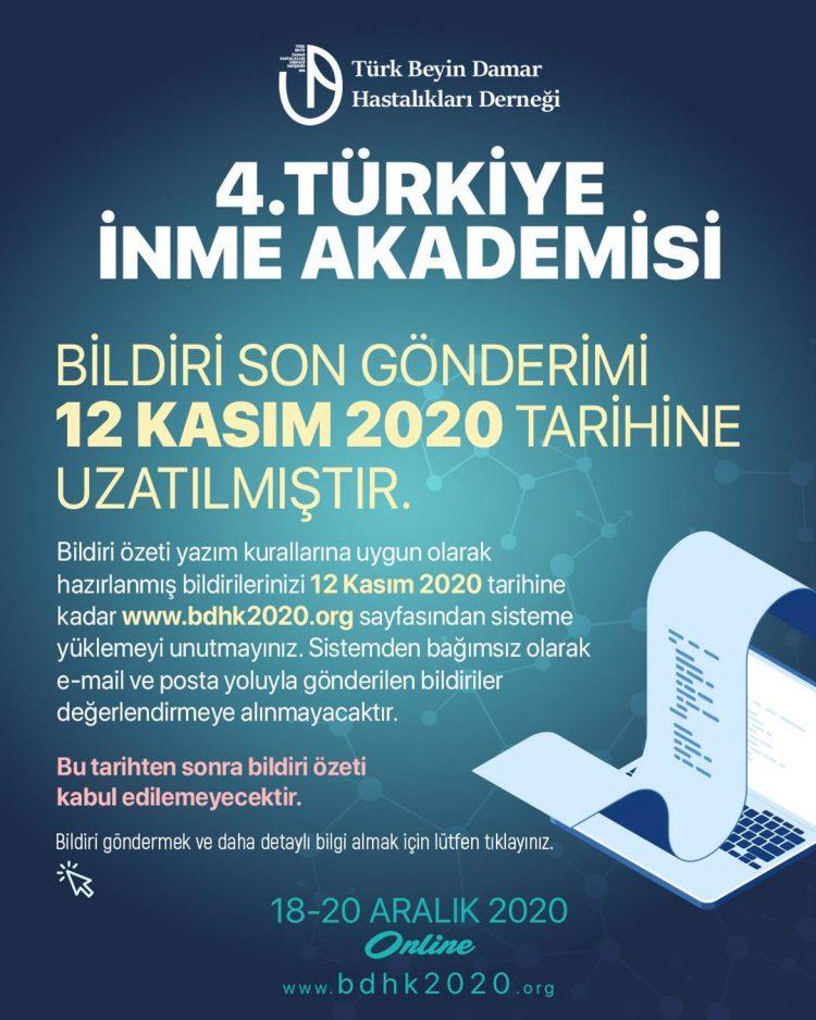 4. Türkiye İnme Akademisi Bildiri Gönderim Süresi Uzatılmıştır