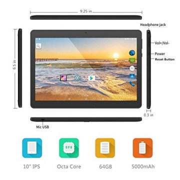 10 inch Tablet Android Octa Core Tablet with 4GB RAM 64GB ROM Tablet PC Built in WiFi and Camera GPS Two Sim Card Slots Unlocked 3G Phone Call Phablet (black) - 3