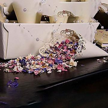 100 PZ Coni Portariso Matrimonio Bianco, Coni Portaconfetti Confettata, Svuotare Cuore Bomboniere segnaposto per Matrimonio, Battesimo, Natale, Compleanno, Comunione, Battesimo Bambina, Baby Shower - 6