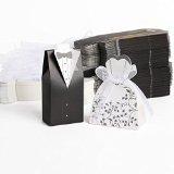 100pz. Sposo + 100pz. Sposa Carta di Bomboniera Per Confetti Caramelle Matrimonio Nero Bianco + Nastro - 1