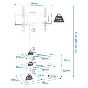 1home FIG-3 - TV Supporto in vetro temperato con staffa girevole per 27-55