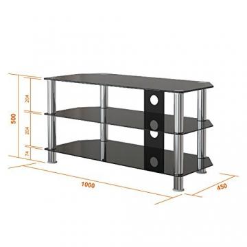 """1home Mobile Porta TV di Vetro Nero per LCD LED e Plasma TV da 32"""" a 60"""" GT4 - 8"""