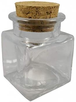 48x Barattoli bomboniera confettata in vetro quadro quadrato con sughero 4cm - 1