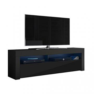 Alan - Mobile porta TV/Supporto TV/Mobile TV audio e video (160 cm, nero opaco/pannelli frontali nero lucido con luci LED blu opzionali) - 2