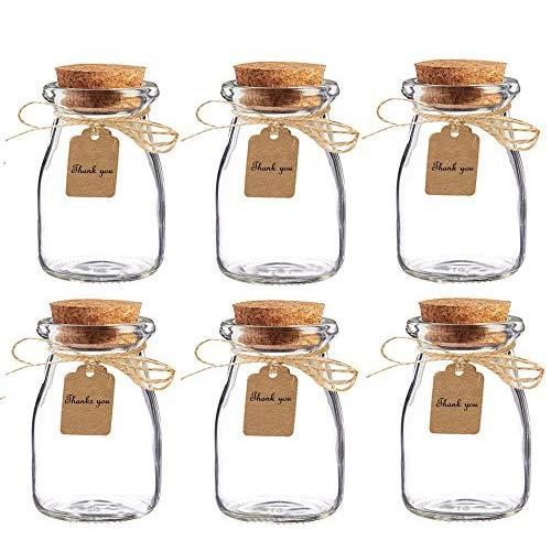 Amajoy barattoli in vetro con tappo in sughero per bomboniere, con bigliettino in carta e spago, ideali per bomboniere matrimonio, come vasetti per miele, confezione da 16 pezzi - 1