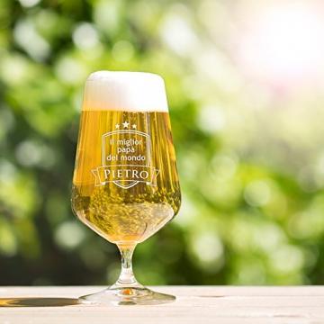 AMAVEL - Bicchiere per Birra Chiara con Incisione - Il Miglior papà del Mondo - Personalizzato con [Nome] - Calice a Tulipano in Vetro - Idee Regalo per papà - Dono di Natale - Festa del papà - 5