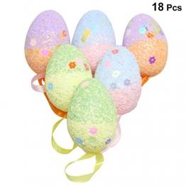Amosfun 18pcs Uova di polistirolo Uova di Schiuma di Pasqua Appeso Ornamenti Decorazioni di Uova di Pasqua - 1