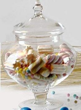 Ampolla alzatina per confettata porta confetti in vetro trasparente e coperchio in vetro misura piccola Altezza 28cm diametro 20cm - 1