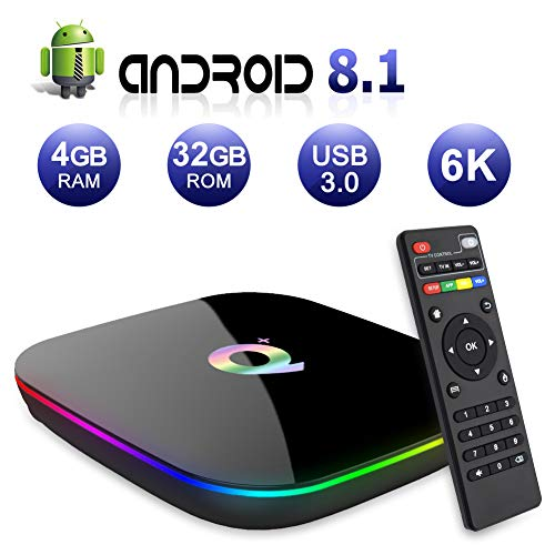 Android TV BOX,Q PLUS Android 8.1 TV BOX 4GB RAM/32GB ROM H6 Quad-Core Supporto 2.4Ghz WiFi 6K HDMI DLNA 3D Smart TV BOX - 1