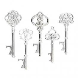 Apribottiglie a forma di chiave Vintage assortiti - Set da 50 pezzi - argento - 1