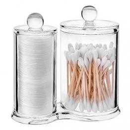ASIV, Organizzatore 2 in 1 acrilico con coperchio, per batuffoli e bastoncini di cotone, trasparente - 1