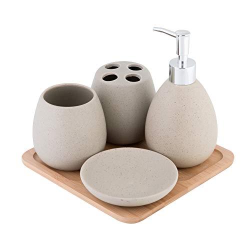 Axentia 126822 - Set accessori da bagno Avignon, in pregiata ceramica e bambù, marrone, 23 x 30 x 11 cm - 1