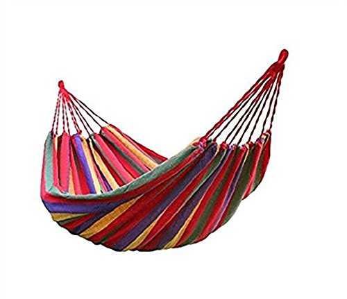 BeiLan Camping Hammock Canvas Stripe Swinging letto portatile esterna Backpacking Viaggi Giardino Patio Spiaggia Yard Tempo libero Amache ultraleggero con il sacchetto (190 * 150cm, Rosso) - 1