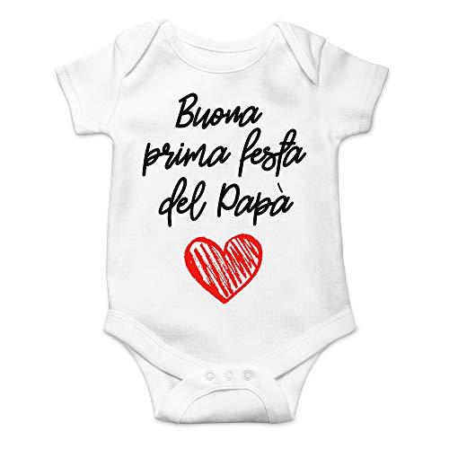 Body Buona Prima Festa del papà, Idea Regalo per la Festa del papà, Bimbo Bimba Infanzia Manica Corta (Bianco, 18-24 Mesi) - 1