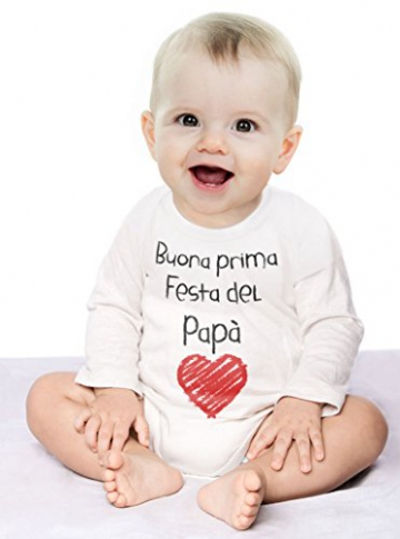 Buona Prima Festa del papà - Regalo per Il Padre Body Neonato Manica Lunga 3-6 Mesi Bianco - 3