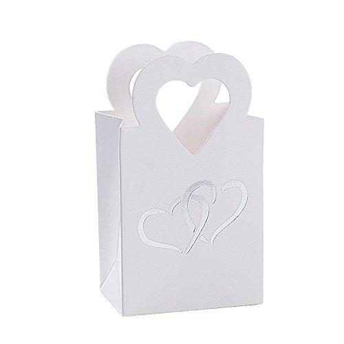 BUONDAC 100 pz Scatole Portaconfetti Bianco Bomboniere Carta con Manico Cuore Scatoline Regalo Decorazioni per Festa Matrimonio Battesimo Compleanno - 1