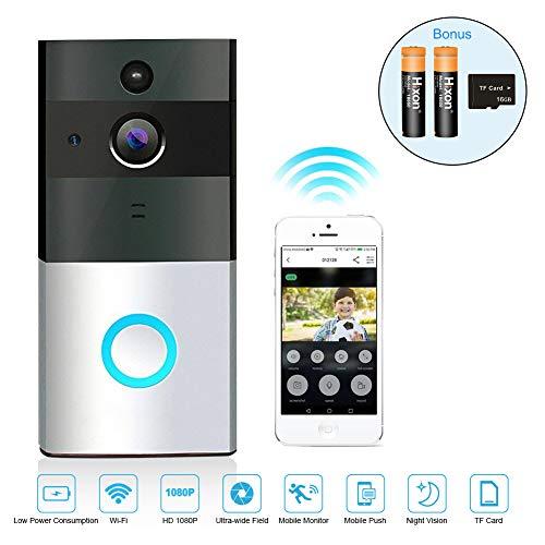 Campanello Wireless Videocitofono Senza Fili Impermeabile 720P HD Camera 166 Gradi Remoto Controllo Audio Bi-Direzione Visione Notturna con Carta 16G e Batteria Ricaricabile LED Indicatore - Argento - 1