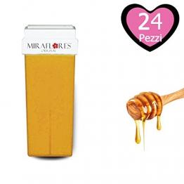 Cartuccia Cera Ricarica al Miele Naturale per Rullo Roll-On per Depilazione. Cera Depilatoria Liposolubile per Ceretta - Miraflores Original MADE IN ITALY - 100 ml 24pz - 1