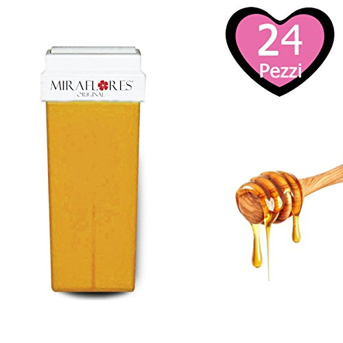 Cartuccia Cera Ricarica al Miele Naturale per Rullo Roll-On per Depilazione. Cera Depilatoria Liposolubile per Ceretta - Miraflores Original MADE IN ITALY - 100 ml 24pz - 1